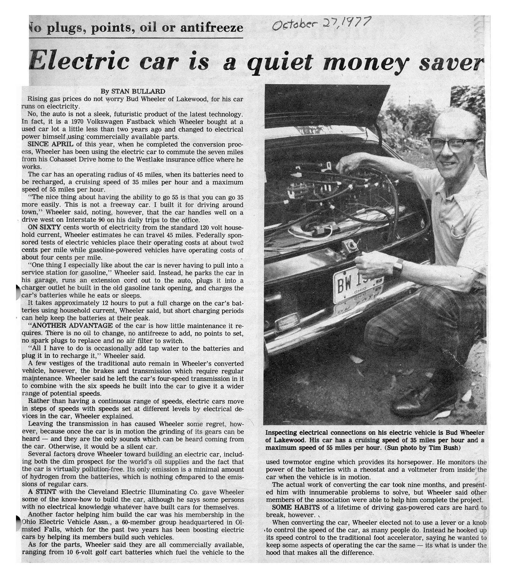 Bud Wheeler Electric Car Newspaper Article